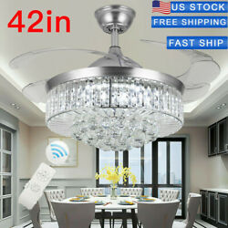 42#x27;#x27; Silver LED Invisable Ceiling Fan Crystal Chandeliers Lighting Remote Ctrl $149.99