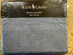 Ralph Lauren HOME COLLECTION CHAMBRAY BLUE FLAT SHEET FULL DOUBLE VINTAGE NEW $129.99