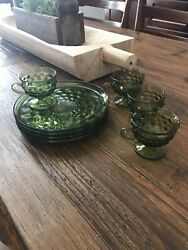 Set of 4 Indiana Glass Vintage Avacado Green Cubist Snack Plates amp; 4 Cups $22.00