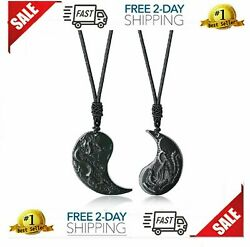COAI Obsidian Dragon and Phoenix Yin Yang Pendant Necklaces for Couples New $48.75