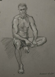Nude Male Black and White Chalk Drawing on Gray Toned Canson paper by O. Marrero $20.00