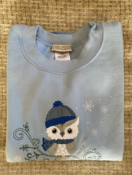 TOP STITCH by Morning Sun Women#x27;s Sz M Winter Owl $14.99