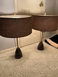 Pair Mid Century Modern Table Lamps W Matching Shades Pink Black Awesome Set $595.00