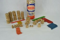 Vintage Spalding Original Tinkertoys No. 136 95 pieces Parts Only Collectible $9.00