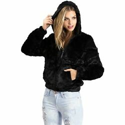 Ambiance Women#x27;s Soft Faux Fur Hoodie Jacket $27.95