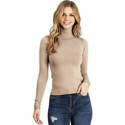 Ambiance Apparel Women#x27;s Ribbed Long Sleeve Turtleneck Top 71463 $18.95