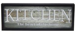 Kitchen Heart of Home Farmhouse Sign Shelf Sitter Rustic Wall Art Decor Print $14.99
