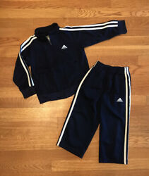 Adidas Toddler Boy Navy Blue 2 Piece Tracksuit Size 3T $14.00