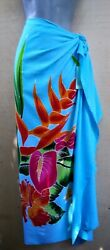 Sarong Hand Painted Bali Turquoise Floral Pareo Dress Skirt Beach Cover Up Wrap $20.49