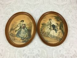 2 Vintage Wall Hangings Oval Picture Frames Fashionable Parisian Woman Prints $14.99