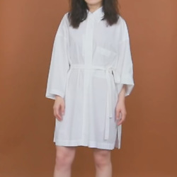 UNIQLO U Beach Cover Up Long Sleeve Shirt Dress in White Size XS $39.00
