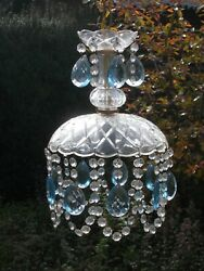 Small antique Italian chandelier with murano blue crystal glass drops $495.00