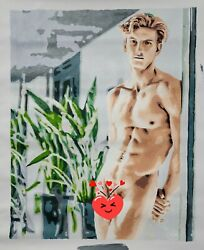 Naked at Patio gay guy art décor wall Oil Painting $150.00