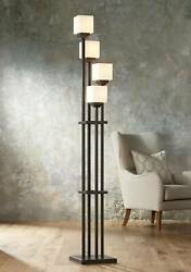 Mission Torchiere Floor Lamp 4 Light Tree Iron White Glass For Living Room $299.99