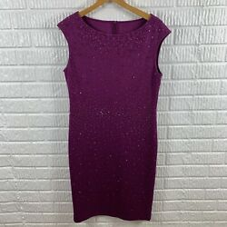 ST. JOHN Fuschia Sheath Dress Embellished Cocktail Size 10 $229.99