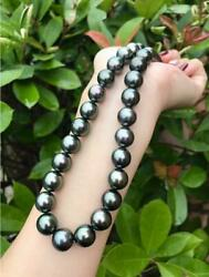 18inch AAAA luster 9 10MM real natural Tahitian black pearl necklace 14k Clasp $42.00