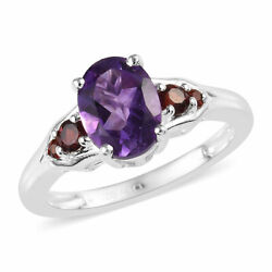 925 Sterling Silver Oval Amethyst Garnet Fashion Promise Ring Jewelry Ct 1.3 $13.99