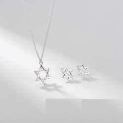925 Sterling Silver Jewish Star of David Pendant Necklace Stud Earrings Set C5 $19.95