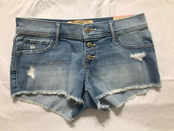 Hollister Short Short Juniors Size 3 Low Rise Light Wash Distressed Cut Off NWT $31.99