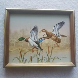 C. Carson Outdoor Oil Painting On Canvas 2 Ducks Flying 11x8 Framed $99.99