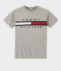Tommy Hilfiger Designer Boys Signature Stripe T Shirt Grey M 12 14 or L 16 18