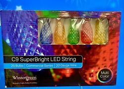 Wintergreen Commercial Christmas Lights 25 Led C9 Lights Multicolor with cord