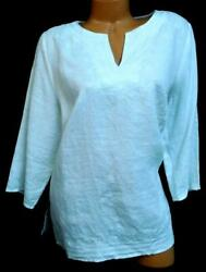 Carole Little white abstract embroidered elbow sleeves v cut neck linen top 1X $14.99