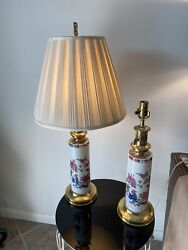 English Porcelain Table Lamps Vintage Brass RARE High Quality Must SEE $160.00