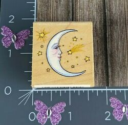 All Night Media Crescent Moon With Stars Night Sky Rubber Stamp #G71 $9.49