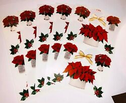 5 sheets Mrs Grossmans Christmas Flowers Stickers Poinsettia Roses Winter Plants $7.99