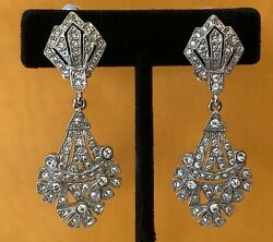 ELEGANT SWAROVSKI CHANDELIER CLIP EARRINGS Swan Mark $79.00