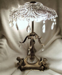 Antique Table Lamp has Metal Cherubs Leaves and Hobstar Glass Crystal Shade $149.00