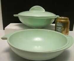 MCM Mint Green Boonton Ware Melmac Winged Divided Bowl Serving Bowl w 1 Lid $29.55