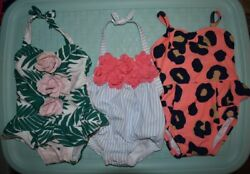 Janie and Jack 3 swimsuits girls 3 6 months Riviera Chic Paradise Palms $24.97