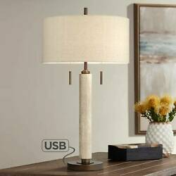 Mid Century Modern Table Lamp with USB Port Wood Column for Living Room Bedroom $139.99