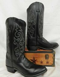 Justin Men#x27;s Buck 13quot; Tall Black Western Boot Polished Round Toe 1409 $180 $180.00