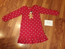 GIRLS 8 10 CARTER#x27;S FLEECE NIGHTGOWN RED GINGERBREAD MAN HOLIDAY PERFECT EUC $9.90