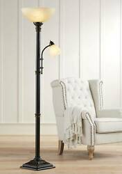 Traditional Torchiere Floor Lamp 2 Light Oiled Bronze For Living Room Reading $149.95