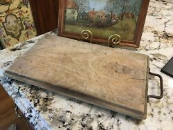 French Antique Wooden Bread Cheese Board Butcher's Board with Handle $350.00