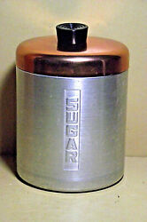 VINTAGE CENTURY ALUMINUM SUGAR CANISTER COPPER TOP WITH BLACK KNOB $10.00