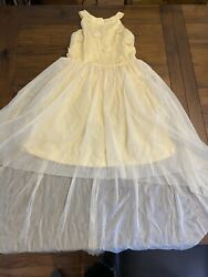 Euc Sequin Hearts Girls For Macy's Girls Yellow Dress Size 12 Flower Embroidery $22.00