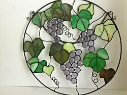 Purple Grapes Green Leaves 12quot;D Stained Hanging Art Glass Window Suncatcher $32.99