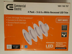 4 PACK COMMERCIAL ELECTRIC 5quot; AND 6quot; WHITE RECESSED LED LIGHTS