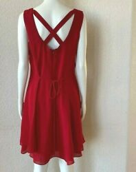 CDC CAREN DESIREE COMPANY Dress Red Sleeveless Party Cocktail 12 Crisscross Back $17.24