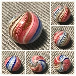 Marbles Beautiful .80quot; German Handmade 4 Panel Onionskin Lutz Marble Mint $189.00