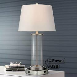 Modern Table Lamp with USB Outlet Workstation Base Fillable Clear Glass Bedroom $119.94