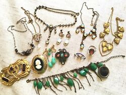 50 Antique Victorian Dragons Breathe Jelly Opal Gold Filled Mixed Jewelry Lot $344.00
