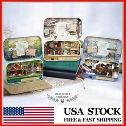 Cuteroom Old Times Trilogy DIY Box Theatre Doll House Miniature Tin Box With LED $26.99