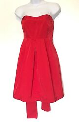 Theory Dress Size 4 Red Taffeta Strapless Empire Waist Tie Cocktail Party Women $49.00