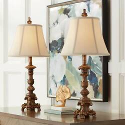 Traditional Table Lamps Set of 2 Candlestick Bronze for Living Room Bedroom $69.95